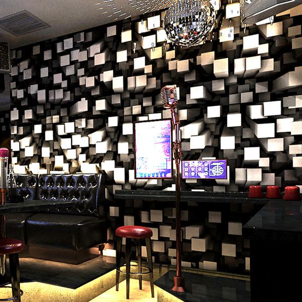 KTV Bar Wallpaper 3D Stereoscopic Geometric Fashion Glitter Lattice Wallpaper Hotel Room Creative Themed Background Wall Decor