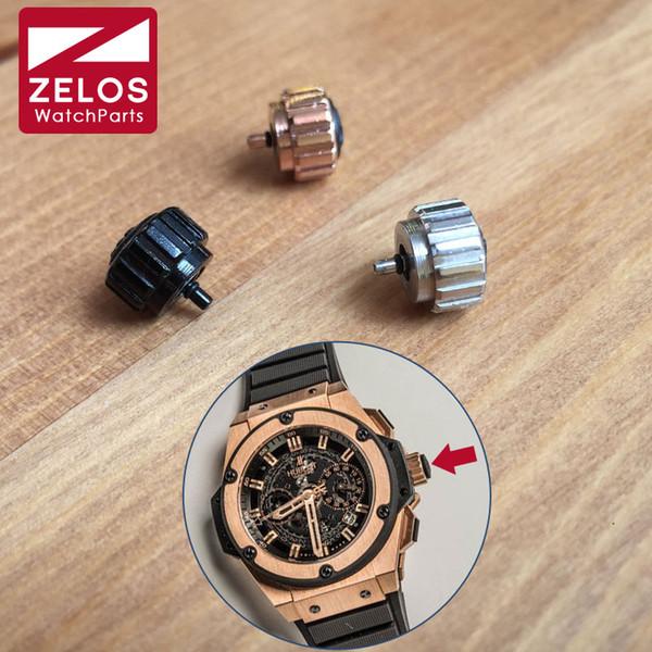 9mm wasserdichte H Gummi HUB Uhr Krone für HUB King Power 48mm Uhr Ersatz Aftermarket Teile (Splitter / Rotgold)