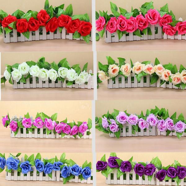 245 cm 9 unidades Fake Rose Vine flores plantas Artificial colgando guirnaldas flores Home Wedding Party Garden Craft Art Decor flores decorativas