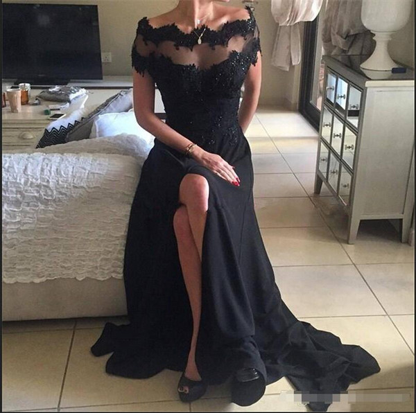 Muslo alto Lado alto Split vestidos de noche 2018 Nuevo negro fuera del hombro Una línea de encaje de gasa lentejuelas Top Red Carpet Vestidos de baile