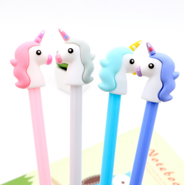 best selling 4 colors 0.5mm Creative unicorn Gel Pen Signature Pen Escolar Papelaria School Office stationery Supply Promotional Gift