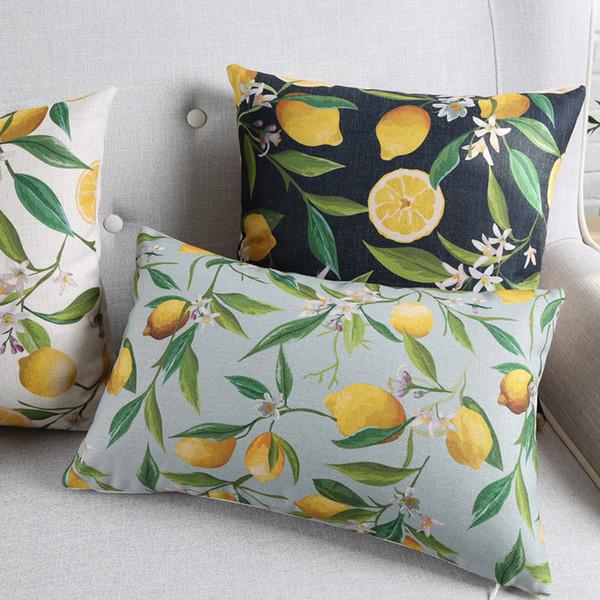 Lemon Fruit Geometric Stripe Cushion Cover 7 Style LOVE Heart 45X45cm 30X50cm Thick Linen Cotton Pillow Covers Bedroom Sofa Decoration