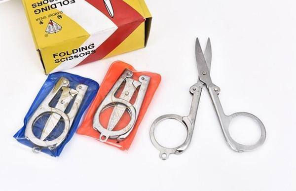 Diamond Spear Hot Sale Home Portable Folding Scissors Mini Folding Foldable Scissors Travel Scissor Color Silver