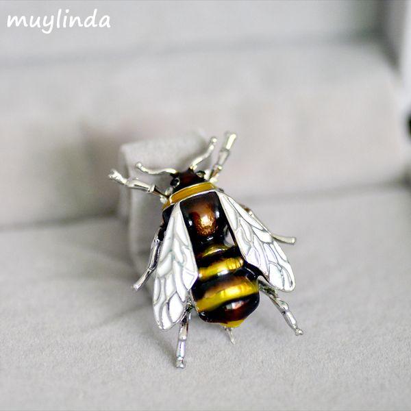 Moda Esmalte Bees Metal Mini Broches Prendedores Hombres Mujeres Traje Broche Y Broche Broche Botones de metal Brosche Clips Bufanda