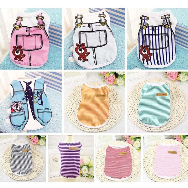Summer Pet Dog Clothes Puppy Dog Cat Vest Shirt Fake Strap Pet Dog Coat Cute Cotton Vest for Small Medium Dogs Clothing
