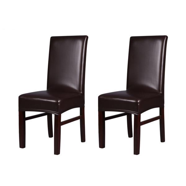 H19927BR Marrom 2 pcs One piece-Strechable Cadeira De Jantar De Couro PU Assento Traseiro Cobre À Prova D 'Água À Prova de Poeira Cadeira Cobre