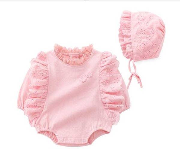 baby girl clothing romper sets o-neck long sleeve romper +hat spring fall 100% cotton high quality lace good design girl baby romper clother