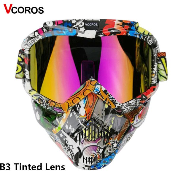 VCOROS harley motorcycle helmet mask modular mask for open face retro vintage helmets detachable googgles with windproof