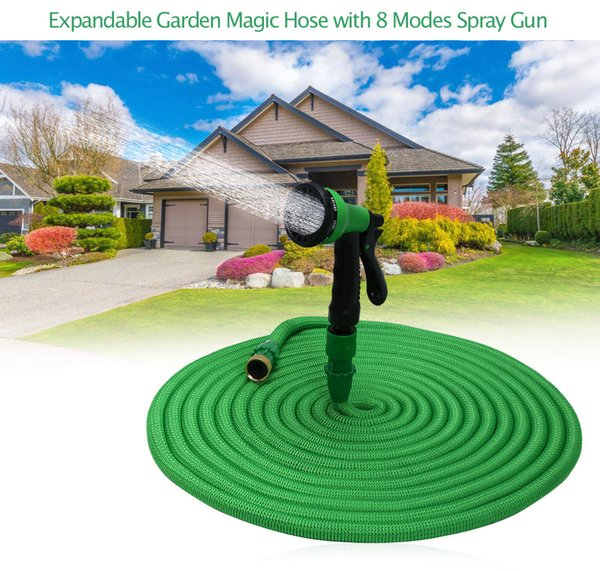 25FT-100FT Garden Hose Expandable Flexible Water Hose Plastic Hoses Handy Pipe With Spray Gun Watering Double Layer Latex Core JJ08