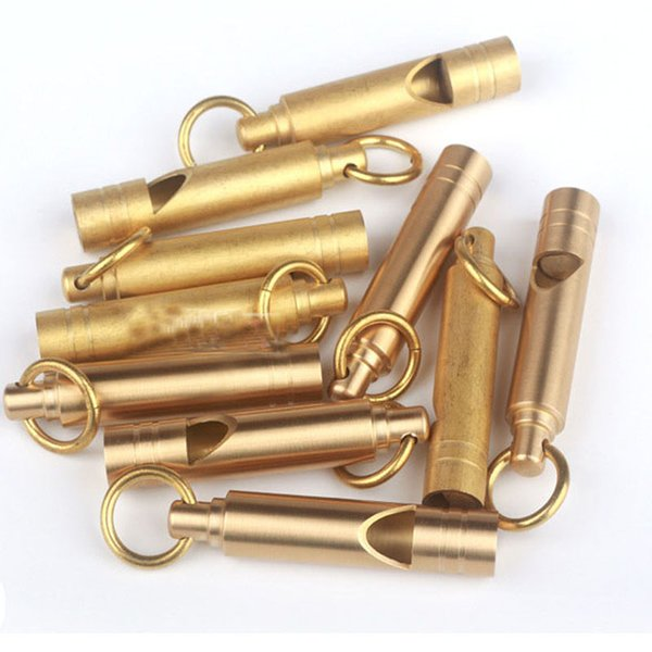 New Brass Whistle Outdoor Handmade Vintage Brass Loudest Whistle Survival Supplies EDC Tool Key Pendant Support FBA Drop Shipping G858F