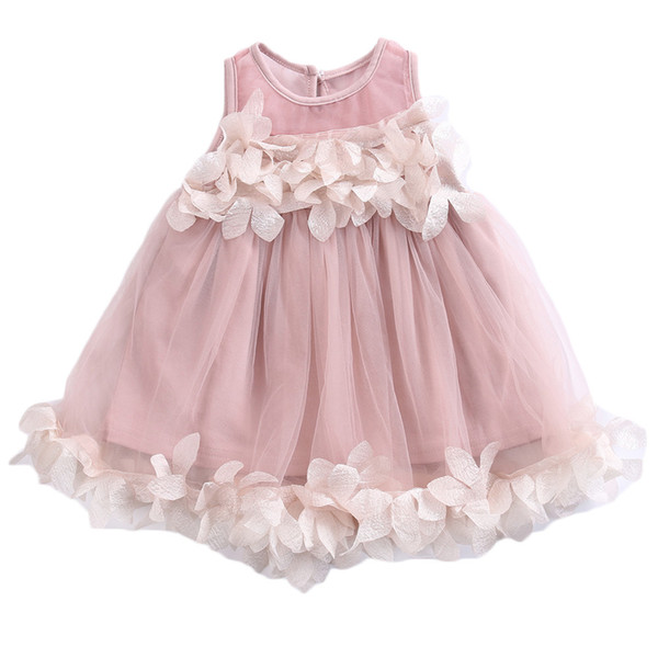 Pageant Toddler Kids Girls Cute Princess Dress Bridesmaid Tulle Petal Formal Party Baby Girl Sleeveless Flower Dresses