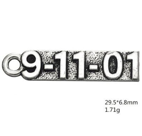 9-11-01 Engraved number jewelry making charms