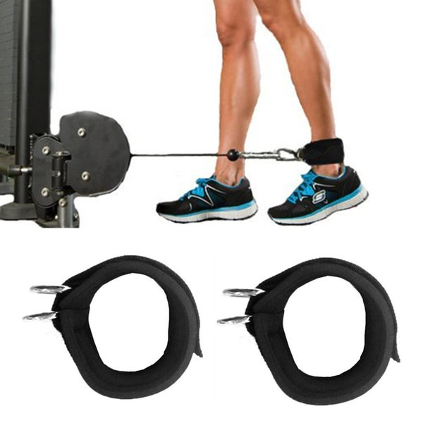2PC Sports Ankle Anchor Strap Double D-ring Gym Leg Pulley Strap Lifting Fitness Elastic Durable nylon belt 45*6cm Ankle Support