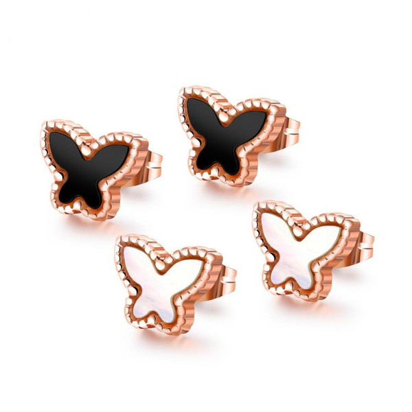 Rose Gold White Black Color Fashion Simple Lady's Gemstone Butterfly Earrings Stainless Steel Earring Jewelry Gift for Women Lady 446