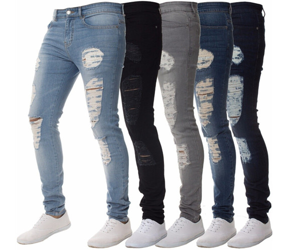Mens Solid Color Distressed Biker Cool Jeans Fashion Slim Ripped Washed Pencil Pants Mens Jeans Male High Street Jeans