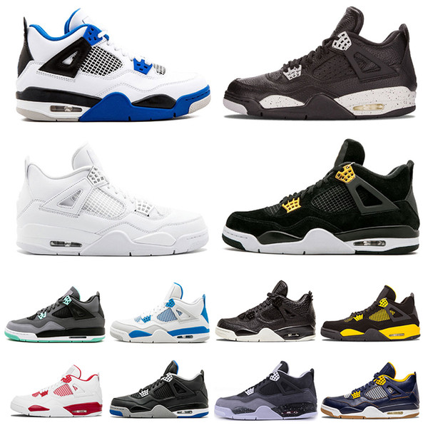 Cheap Top 4 4s men basketball shoes White Cement Pure Money Royalty Thunder Bred oreo Toro Bravo Sports sneakers shoes US 7-13