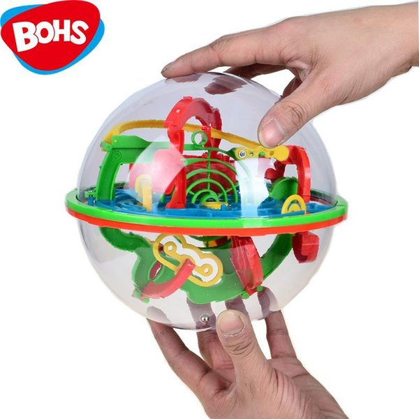 BOHS 100 Steps Small Big Size 3D Labyrinth Magic Rolling Globe Ball Marble Puzzle Cubes Brain Teaser Game Sphere Maze