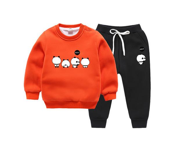 Conjuntos de bebê crianças terno de inverno 2 pcs Panda design bonito crianças outwear Tops + calça / set Dos Desenhos Animados mix cores dropship engrossar roupas quentes novo