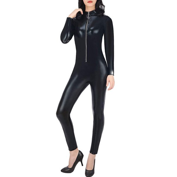 Women Sexy Cat Suit Halloween Costume Zipper Front Wet Look Black Full Body Adult Jumpsuit one piece Outfit