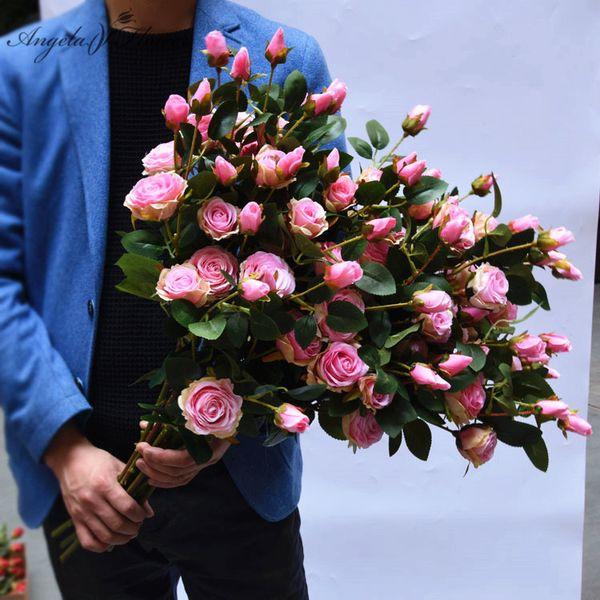 6 kafaları 65 cm gül simülasyon Fransız çiçekler gül mobilyalar sahte çiçekler DIY düğün ev bahçe masası dekor flores yapay