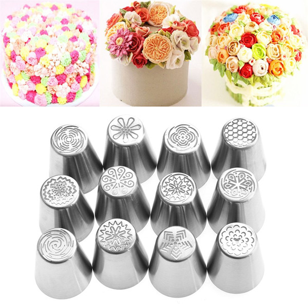 New 12 Pcs/set Kitchen Sugarcraft Russian Icing Piping Nozzles Pastry Tips Stainless Steel Fondant Cake Decor With One Convertor
