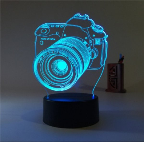3D Illusion LED Table Lamp Night Light with Seven Color Flashing Poker shape in Promotional Price