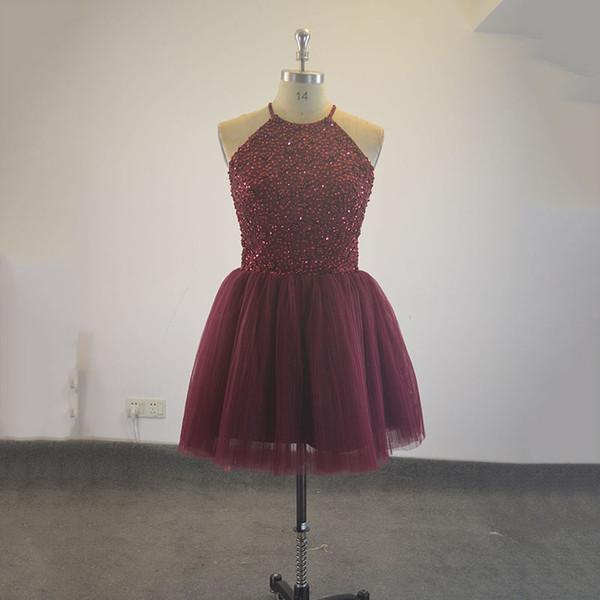 Free Shipping Pretty Halter Burgundy Keyhole Back Beading Short Prom Dresses Vestido De Festa Girls Party Dress Real Homecoming Dress