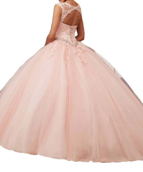 2019 Quinceanera Dresses Pink collar with net design back strap, multi-layer net trailing mats, applique beads, sparkling, cheap mail.