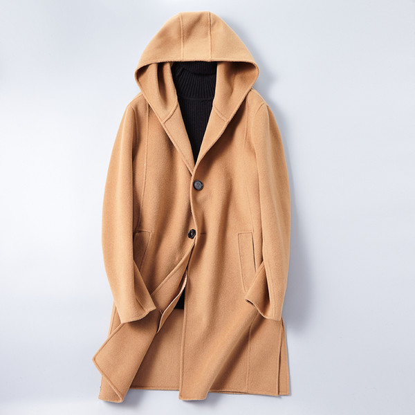 Autumn & Winter Men's Hooded Long Jackets High Quality Men Wool & Blends Coats Men Slim Elegant Comfort Tops Male S-3XL