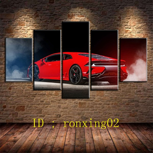 Rambo Hurricane Red Sports Car,5 Pieces Home Decor HD Printed Modern Art Painting on Canvas (Unframed/Framed)