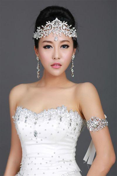 best selling Vintage Wedding Bridal Bridesmaid Crystal Rhinestone Diamond Forehead Hair Accessories Tassel Headband Crown Tiara Princess Headpiece Silver