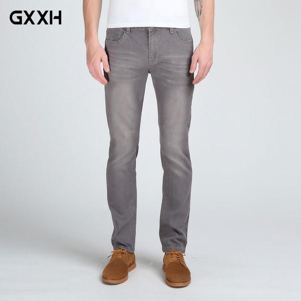 2018 New Men's Stretch Jeans Fashion Slim Fit Men's Casual Denim Pants Color Dark Blue/Black/Grey Size 28-32 33 34 36 38
