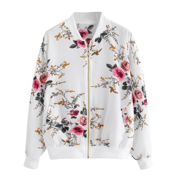 Mulheres Retro Floral Impressão Zipper Up Jaqueta Bomber Outwear Casaco Casaco Outwear Bomber Casaco Casaco Outwear Outono Mulheres