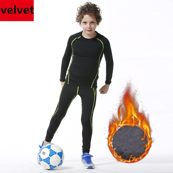 Kids Winter Velvet Thicken Tights Youth Compression Sports Running Shirts Pants Basketball Football Soccer Training Leggings