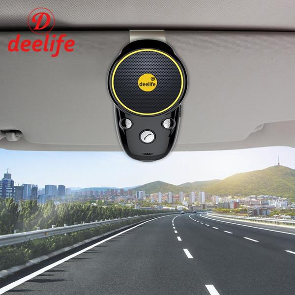 Deelife Bluetooth manos libres para automóvil Kit de audio Cancelación de ruido Inalámbrico Auto Altavoz Adaptador de teléfono para teléfono móvil En la visera