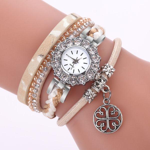 Best Sale 2018 Fashion Womens Bracelet Vintage Weave Wrap Quartz Leather Gift Casual Wrist Watches lady watch Relogio F30