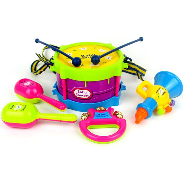 6pcs/set Kid's Musical Instruments Baby Rattles Shake Bell Ring Children Early Learning Toys Hand Beat Drums Toys for toddlers
