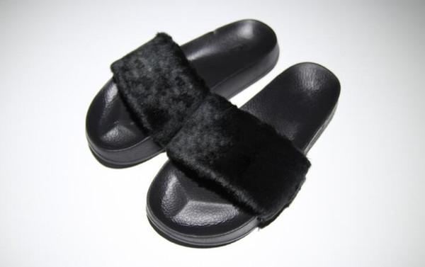 Women Rihanna Fenty Fur Slide Sandals Slipper Shoes,Satin Foam Strap Backing,Size 35-40,Free Shipping