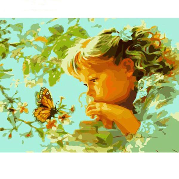 Sem moldura meninas diy pintura by numbers pintura moderna da arte da parede pintura acrílica sobre tela para home decor 40x50 cm arte