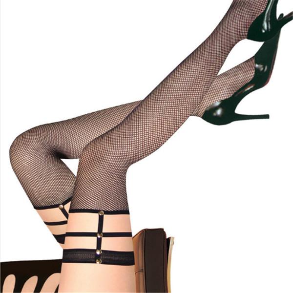 2018 Sexy Sobre O Joelho Meias Lace Bandage Perna Anel Harness Cut Out Rivet Arrastão Net Coxa Alta Meias Femininas Meia-calça Mulheres