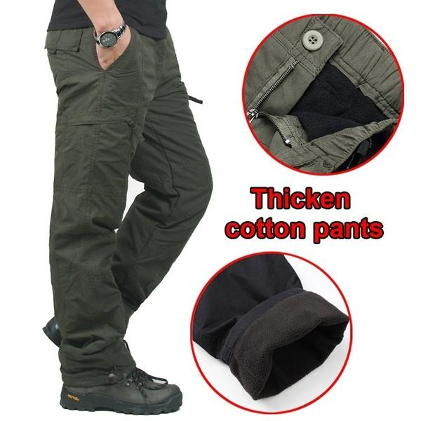 Winter Double Layer Men's Classic Cargo Pants Warm Thick Baggy Pants Cotton Trousers Military Camouflage Tactical