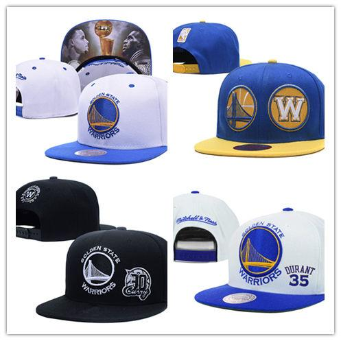 Newest Golden State Embroidery Adjustable Hat Embroidered Snapback Caps Black Yellow Blue White Stitched Basketball Hats One Size