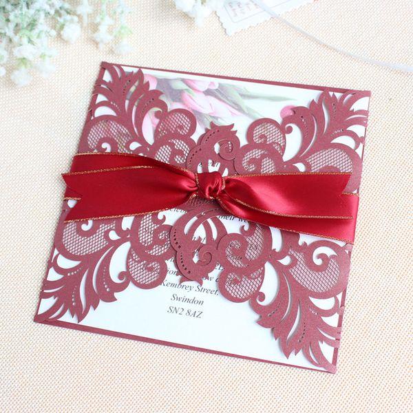 Butterfly Laser Cut Wed Invitation Burgundy Romantic Valentine S