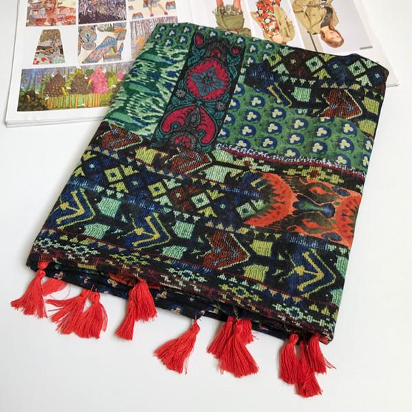 Women Cotton Scarf BOHO Ethnic Large Shawl Bright Color Female Hijab Brand New 180x100cm