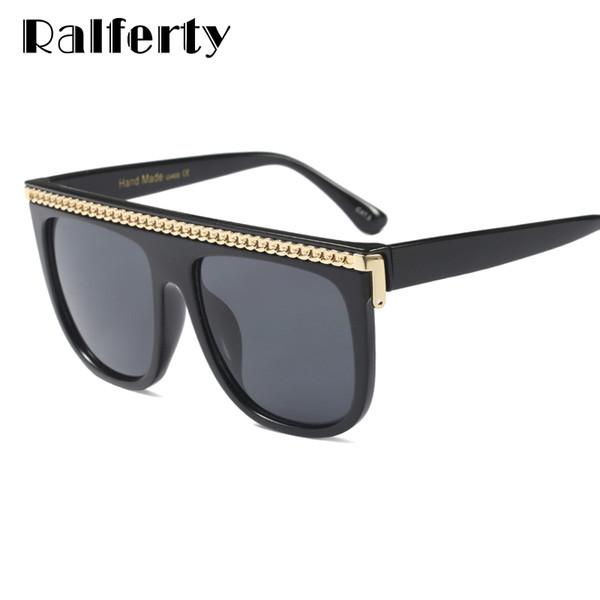Ralferty 2018 oversize occhiali da sole donne catena decorato occhiali da sole per donna uomo freddo punk eyewear uv400 nero sfumato f97598