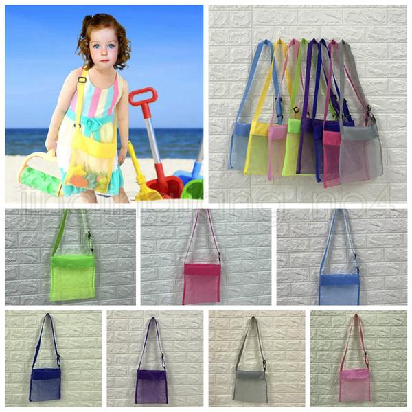 24 * 25 cm Kinder Strand Mesh Tasche Shell Speichernetzbeutel Verstellbare Träger Tote Spielzeug Mesh Outdoor Handtasche 8 Farben AAA639 60 STÜCKE