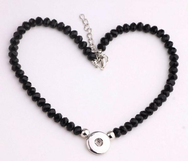 Le donne di modo Handmade perline di cristallo nero 18 millimetri bottoni a pressione presa collana gioielli girocollo per donne della signora