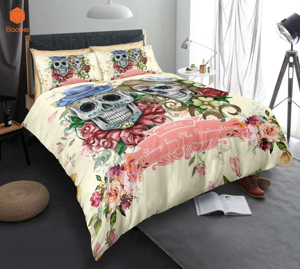 3Pcs 3D Sugar Flowers Skull Bedding Set With Pillowcases Duvet Cover Quilt Cover For Kids Queen King Sizes Bedspreads Sj234
