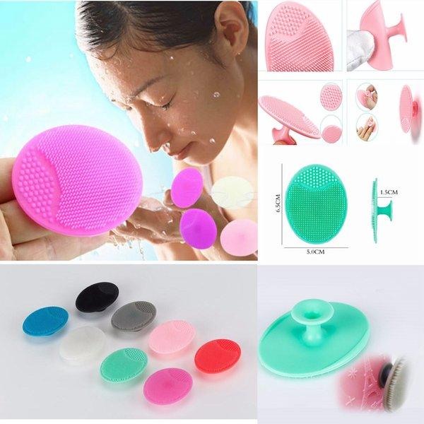 Osculum Tipi Silikon Oval Yüz Temizleme Fırçaları Siyah Nokta Remover Yüz Gözenek Derin Temizleme Fırçası Bebek Kafa Yıkama Fırçası 8 Renkler AAA653