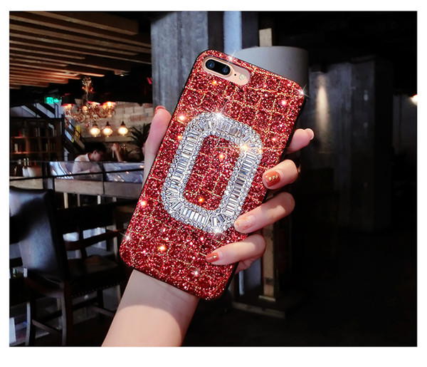 For Samsung galaxy s8 s9 plus note 8 Luxury Pretty Cute diamond glitter black blue Square Buckle bling bling soft phone case cover